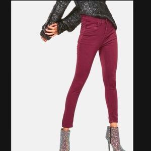 Zara Burgandy Skinny Jeggings W/ Rose Gold Details